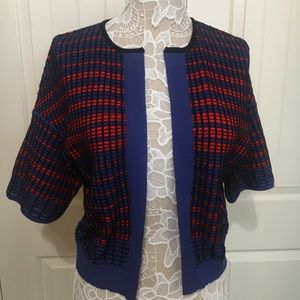 M Missoni Blue Two Tone Cotton Blend Cardigan